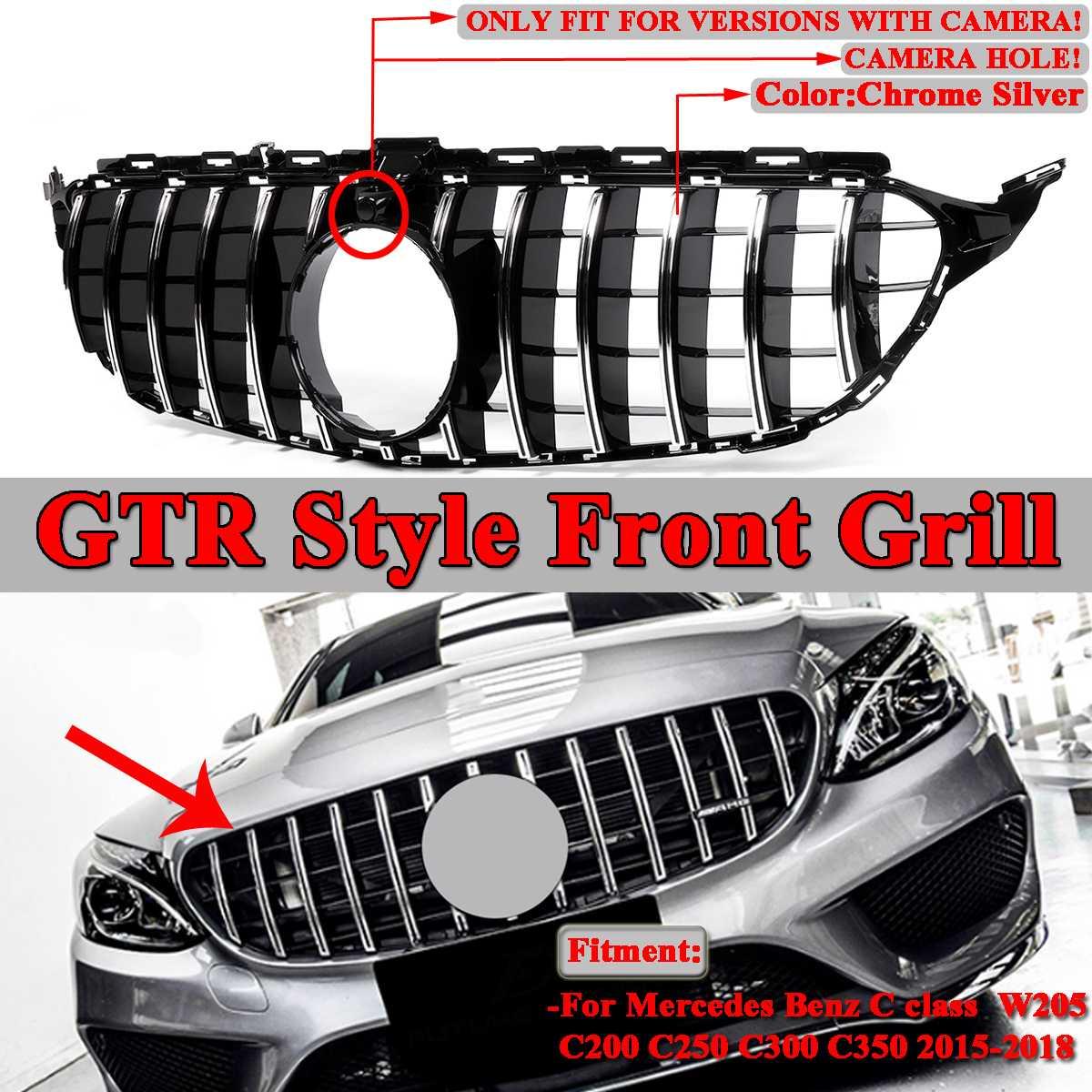 W205 GTR GT R รถด้านหน้าย่าง Grille สีดำ/Chrome Silver สำหรับ Mercedes For Benz W205 C200 C250 c300 C350 2015-2018 2Dr/4Dr