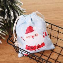 Christmas Drawstring Gift Bags Fabric Candy Bag Santa Claus Present Treat Reusable Presents Delivery