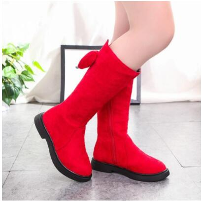 Winter Children's Shoes Princess Martin Boots Girls Plush Boots Kids Warm Fashion Leather Boots Wine Red Black
