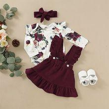 Для новорожденных, для маленьких девочек, комплект одежды с цветочным принтом костюмчик боди Песочник топы, футболки, юбки на подтяжках для ...