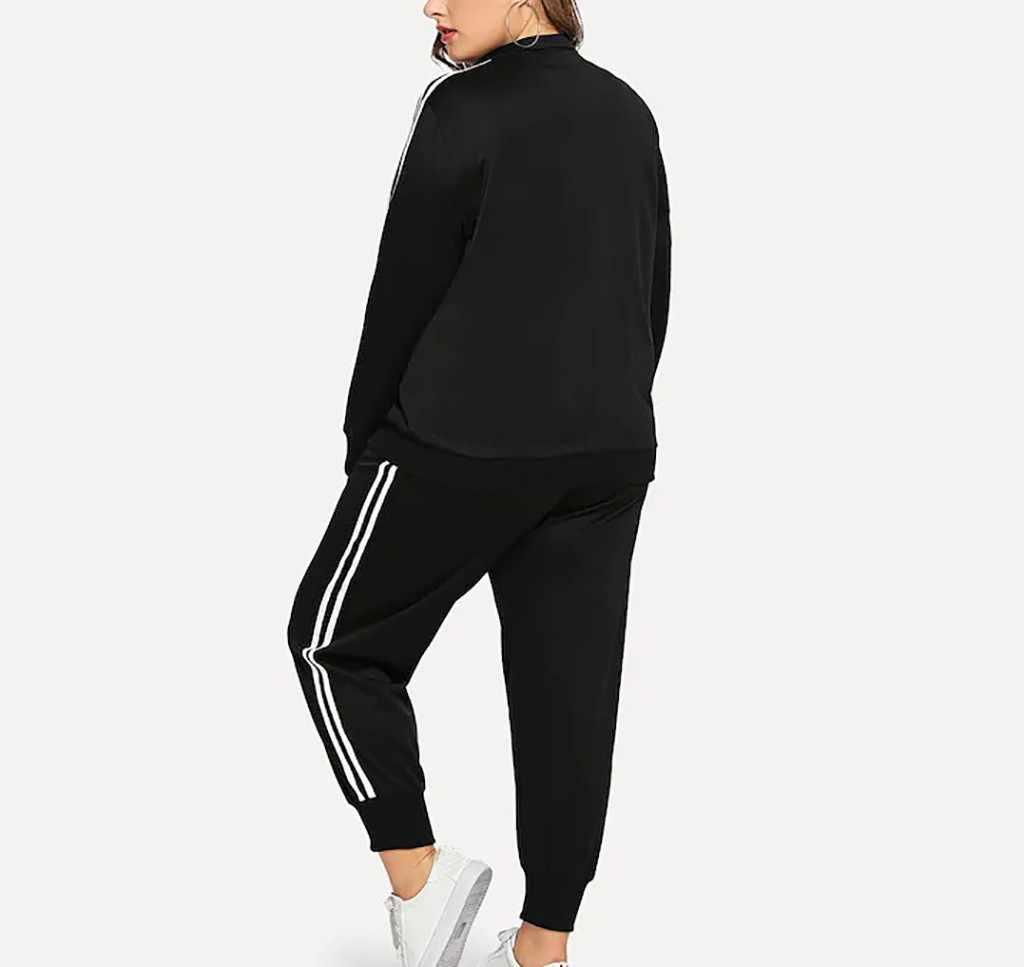 Traje de talla grande para mujer nueva sudadera pantalones conjuntos de manga larga raya Patchwork chándal Otoño Invierno moda Casual Traje deportivo # A