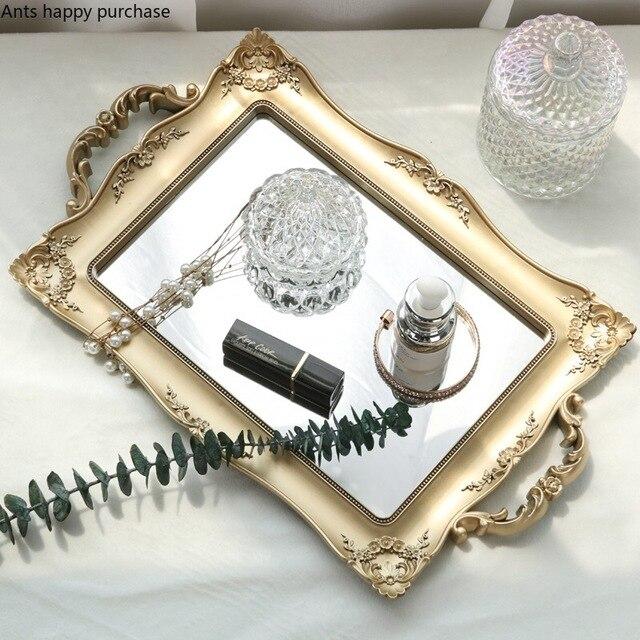 Europäische Quadrat Spiegel Tablett Schlafzimmer Wohnzimmer Shop Dekorationen Tasse Kosmetische Lagerung Fach Trays Dekorative Küche Home Storage