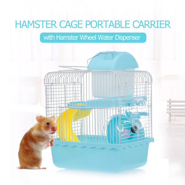 Hamster Cage Portable Carrier Two-Story Hamster Habitat with Hamster Wheel Water Dispenser for Hamster Mouse Small Pets