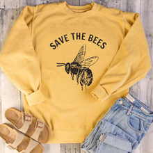 New Flowers Hoodies Protect The Planet Pullover Girl Streetwear Save The Bees Graphic Women Sweatshirt Plant These Drop Ship(China)