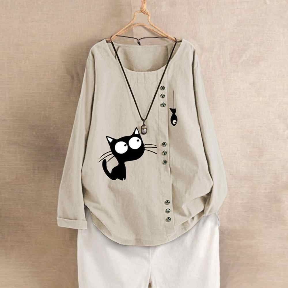 Phụ Nữ Thời Trang Xuân Hè Hàn Quốc Phong Cách Quá Khổ Dài Tay Vải Bông Vải Mèo Và Cá In Hình In Áo Tee
