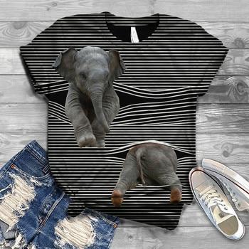 Харадзюку Женская T рубашки для мальчиков модные, женские, круглый ворот, короткий рукав, 3D и принтом «слон», полосатая футболка Женские футболки женские футболки|Футболки|   | АлиЭкспресс