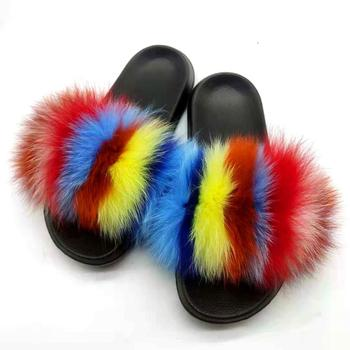 Winter Furry Slippers Woman Fox Fur Sandals Home Shoes Fluffy Furry Flip-flops Bottom Indoor Plush Shoes Elegant Female Slippers
