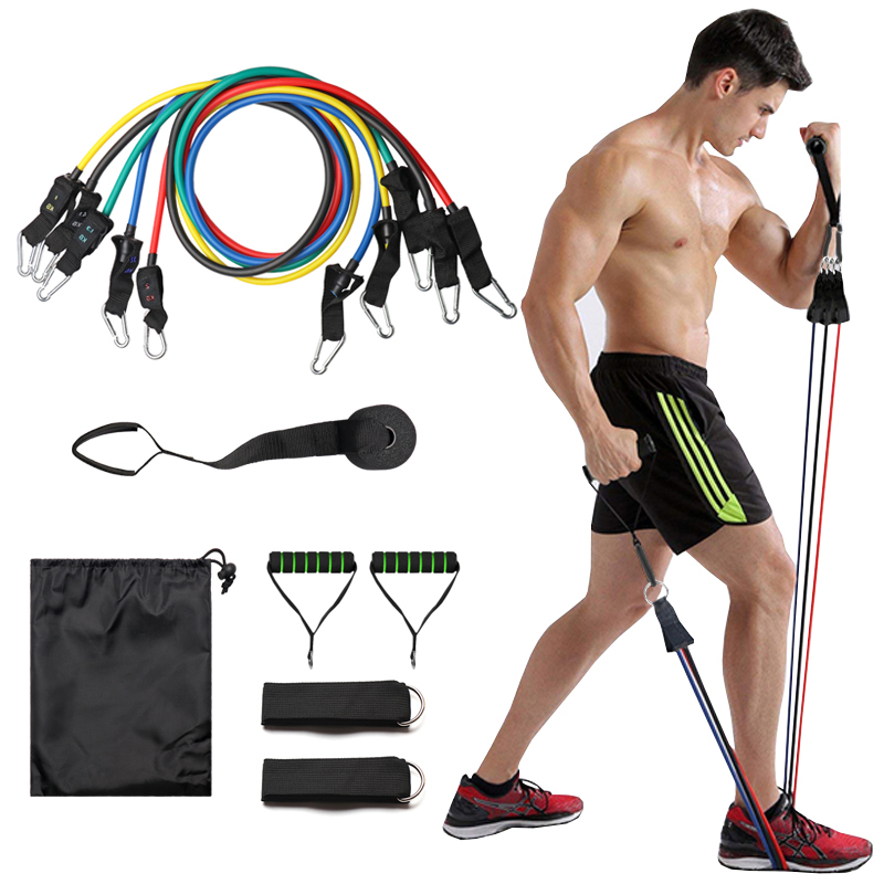 11Pcs / Set Latex Resistance Bands Crossfit Training Body Exercise Yoga Tubes Drawstring Chest Expander Pilates Fitness With Bag