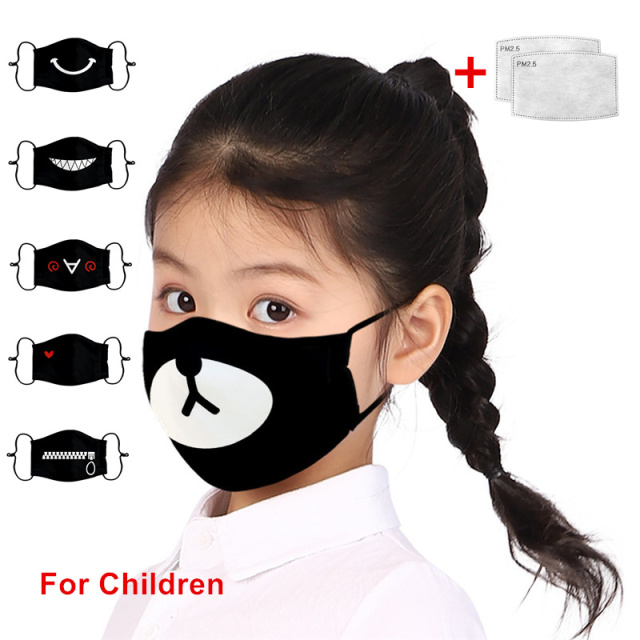 Print Mouth Mask Washable Cotton PM2.5 Filter kids Anti Dust Face Mask Reusable Mouth-muffle Bacteria Proof Flu Children Mask