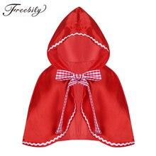 Красная накидка с капюшоном для девочек, накидка на Хэллоуин, костюм для косплея и вечеринки, накидка с капюшоном для маленьких девочек, кра...