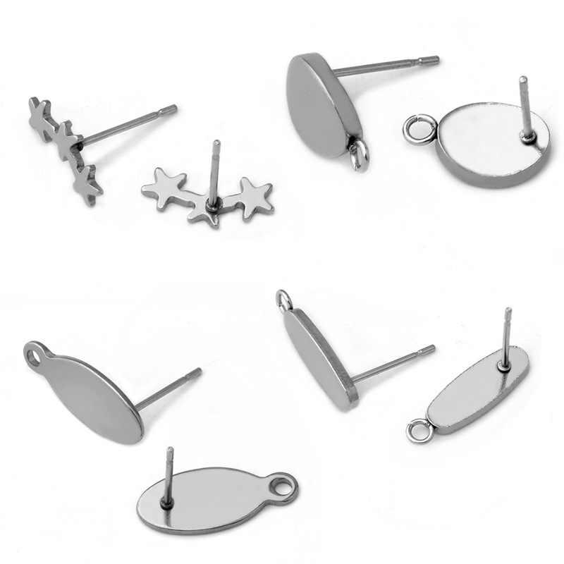 Luomiss 20 Pcs Oval dengan Cincin Pentagram Stainless Steel Anting Tindik Telinga Pos Datar Anting-Anting Pad Base DIY Perhiasan Barang