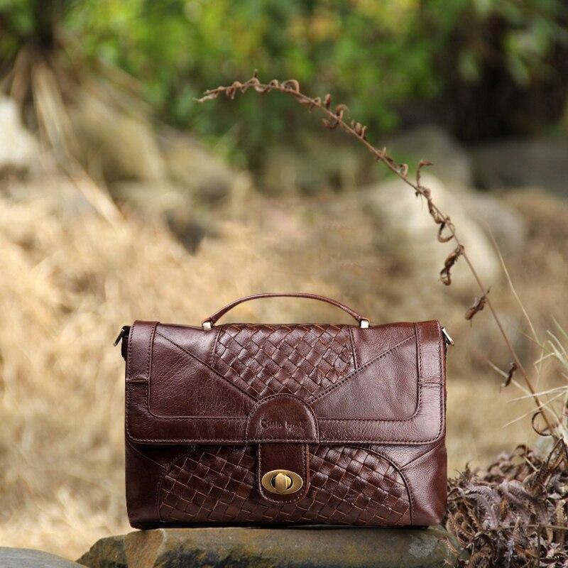 Women Leather Handbags Knitting Satchel Vintage Genuine Leather Tote Classic Briefcase Designer Handbag Brand