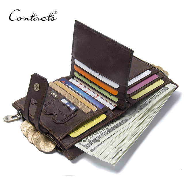 CONTACTS אמיתי מטורף סוס עור Mens ארנק איש עור פרה כיסוי מטבע ארנק קטן מותג זכר אשראי & ID רב תכליתי Walets