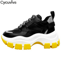 New Mesh Platform chunky Sneakers Women Mixed Color Lace Up Leather luminous Women Shoes thick bottom Vulcanize shoes Woman