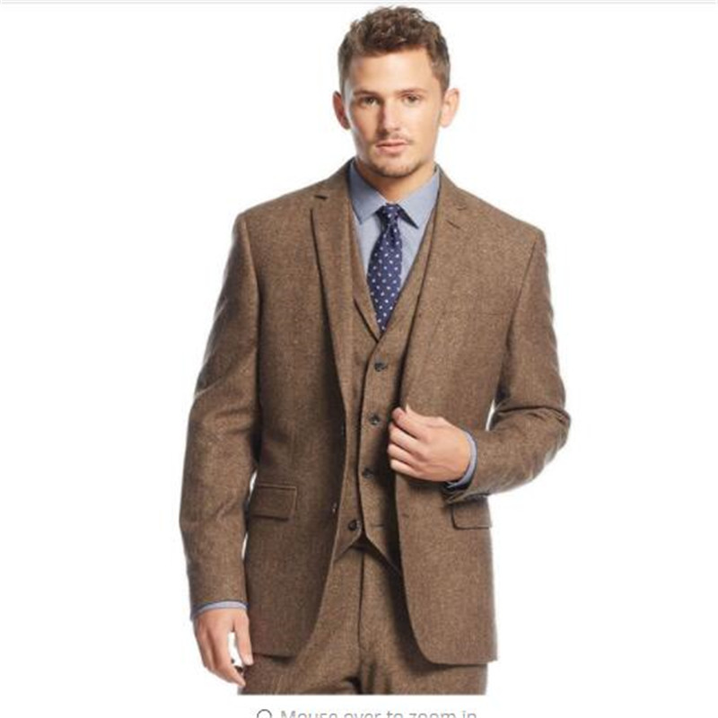 2020 New Brown Tweed Men Suit Slim Fit 3 Piece Groom Tuxedo Wedding Suits Custom Prom Blazer Terno Masculino Jacket+Pant+Vest