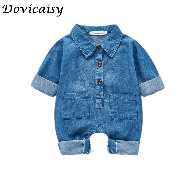 Baby Rompers Newborn Girls ClothesJumpsuits Navy Jean Infantil Bebes Sleeveless Playsuits 0-18Month Children Overalls Clothes