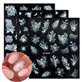 5D лазерные наклейки для дизайна ногтей Нежные цветы лист геометрические кружева белые наклейки для ногтей гелевые слайдеры украшения мани...