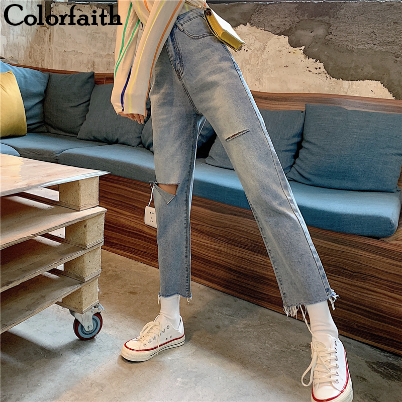 Colorfaith New 2019 Women Jeans Ripped Straight Blue Boyfriends Vintage Korean Style High Waist Pants Ladies Denim Jeans J0055