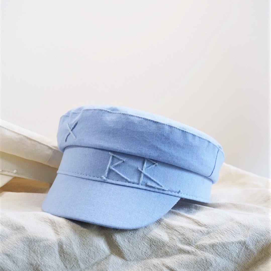 New Summer Breathable Cotton Linen Newsboy caps Letter Military Cap