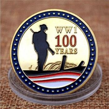 عملات معدنية تذكارية لهواة التجميع الذكرى 100th لهدنة الحرب العالمية الأولى مطلية بالذهب شارة ميدالية تذكارية