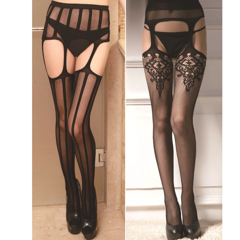 Summer Sexy Mesh Fishnet Pantyhose Women Black Slim Net Tight Lace Top Garter Belt Thigh Stockings Party Club Hosiery Lingerie