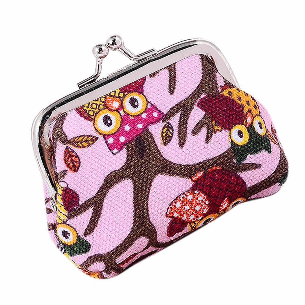 Hibou coloré imprimé mignon femmes sacs à main petites dames banque portefeuille porte-cartes de crédit femmes dessin animé MINI mince portefeuilles livraison directe