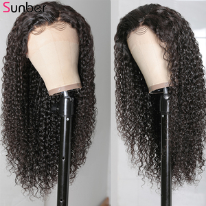 Image 4 - Sunber Peruvian Deep Curly Lace Wig Pre Plucked 10 24 13x4/6 150/180% densityRemy glueless Lace Front Human Hair Wig For Women