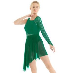 Image 3 - 女性バレエレオタードドレスシングル指先でレースのボディス叙情的なモダンダンスの摩耗ファム大人非対称体操衣装