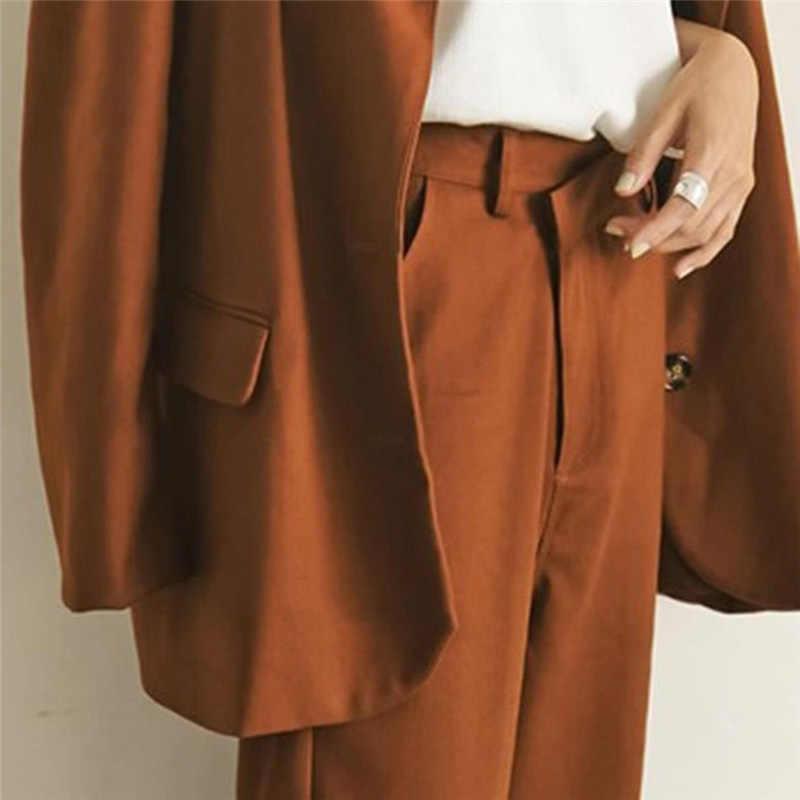 BGTEEVER 2 adet Set moda tek göğüslü uzun kollu kadın Blazers ve gevşek düz bacak kadın takım elbise pantolon pantolon 2020 bahar