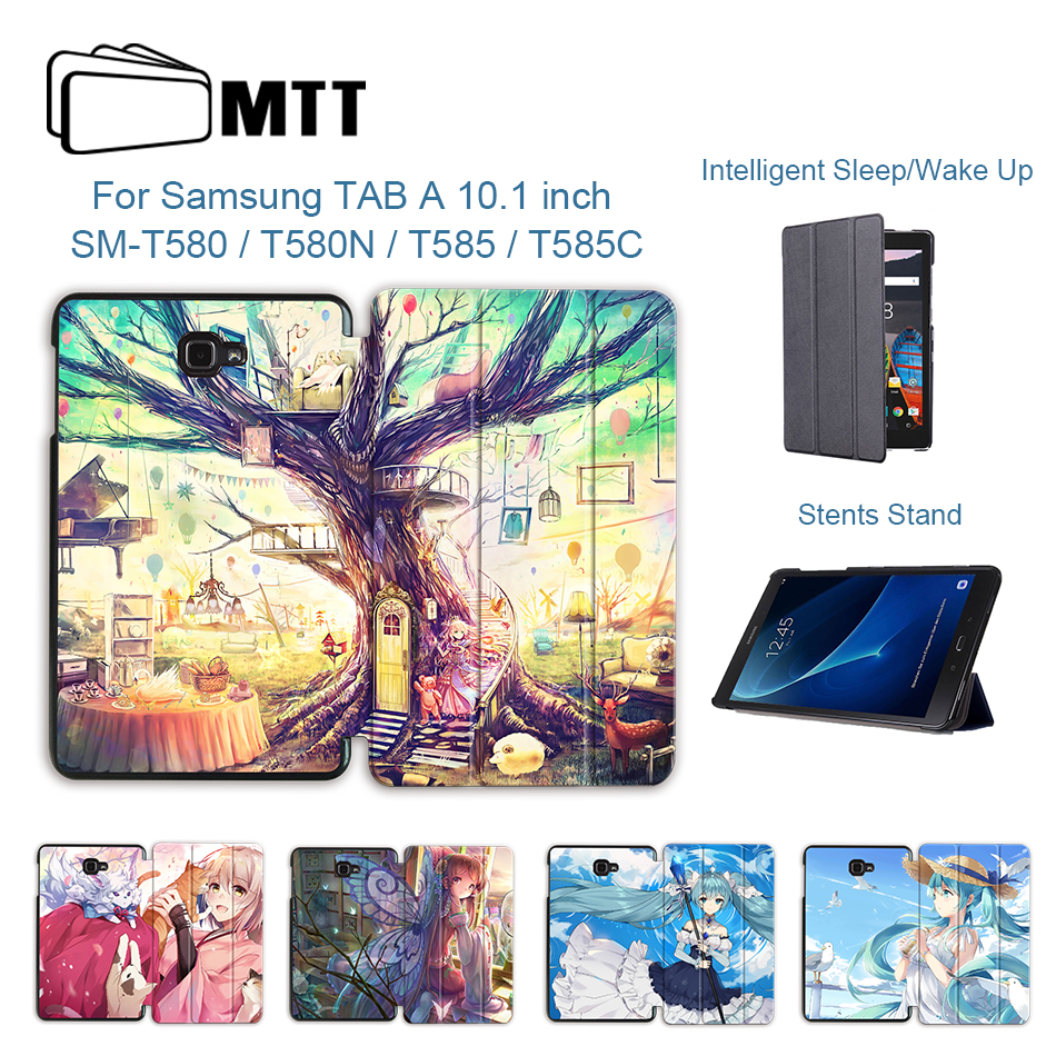 MTT Case For Samsung Galaxy Tab A A6 10.1 Inch SM-T580 T585 Cartoon Anime PU Leather Flip Stand Tablet Case Protective Funda
