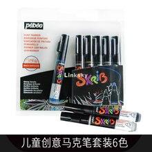 Pebeo – MARQUEURS de Peinture skrb, MARQUEURS acryliques multicolores, Peinture pour enfants, 6,12