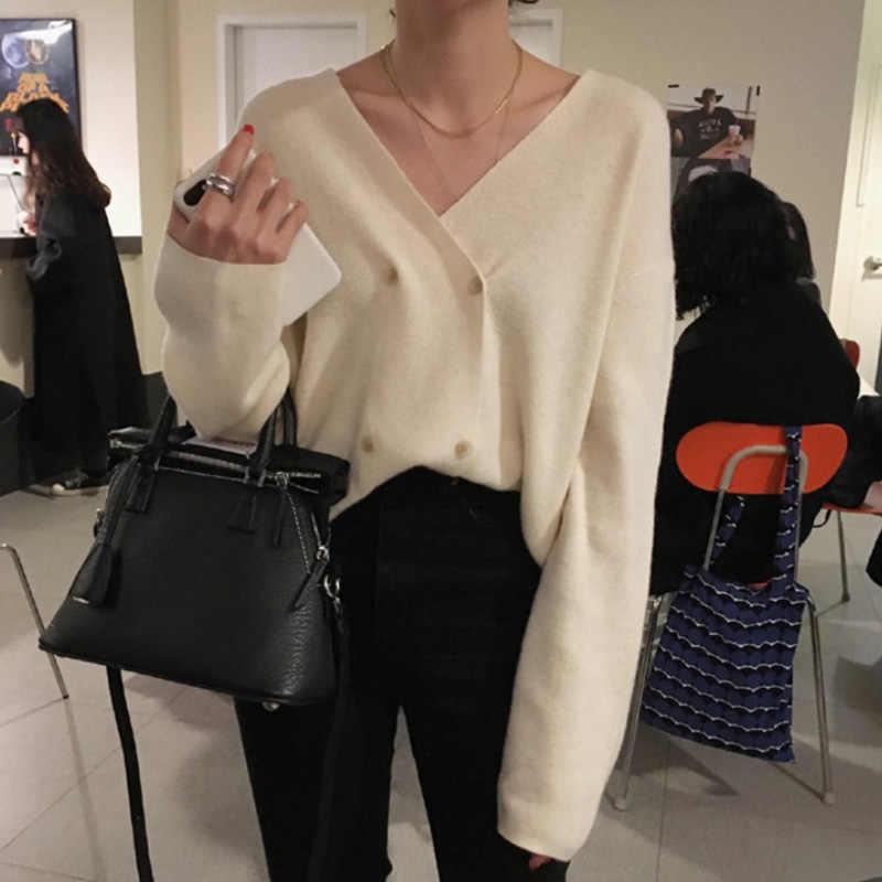 여성용 스웨터 v 넥 솔리드 가디건 더블 브레스트 뜨개질 버튼 미니멀리스트 스타일 숙녀 탑스 2020 봄 여성 스웨터