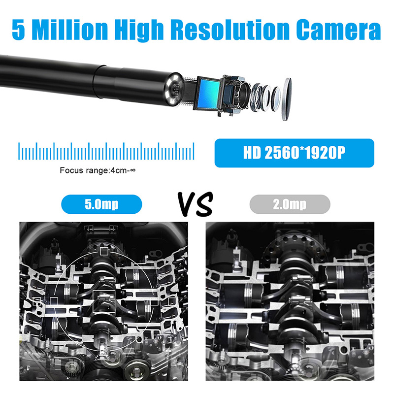 5 5mm Inspection Camera 5 0MP Wireless Borescope WiFi Snake Camera with 6 LED for iPhone 5.5mm Inspection Camera 5.0MP Wireless Borescope WiFi Snake Camera with 6 LED for iPhone, Samsung, Android Tablet