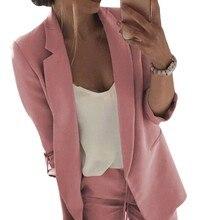 2019 New Autumn Women Blazer Jacket Vintage Office Lady Slim Long Sleeve Simple Solid Color Basic