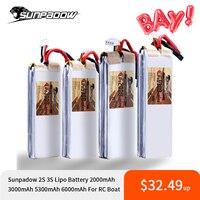 Sunpadow-batería Lipo 2S 3S, 7,4 V, 11,1 V, 2000mAh, 3000mAh, 5300mAh, 6300mAh, 25C, 30C, con puerto de equilibrio, 2S, 3S, para barco de carreras de alta velocidad