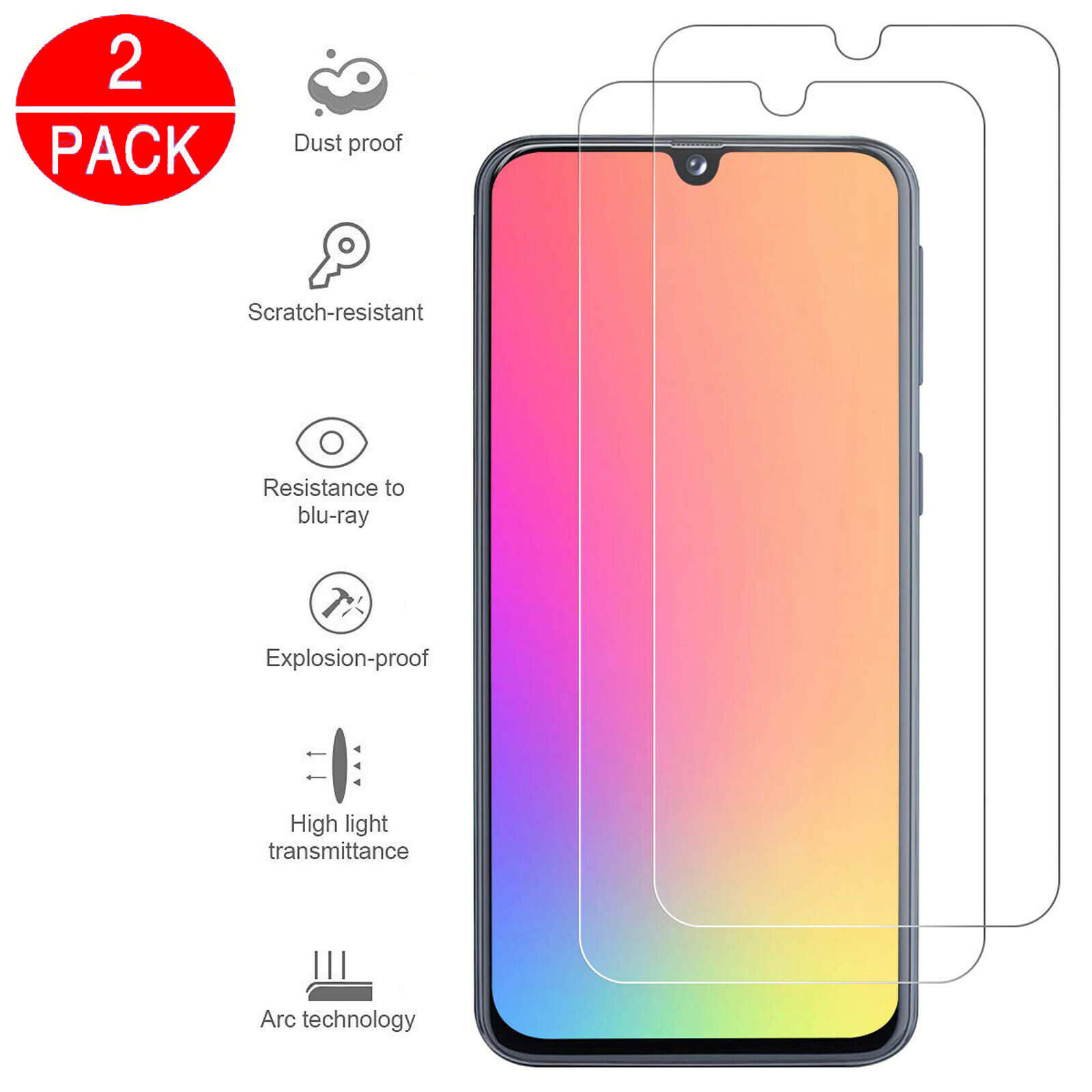 2pcs Tempered Glass For Samsung A40 A50 Protective Glas Screen Protector Safety Tremp On Galaxy A 40 50 Protective Film