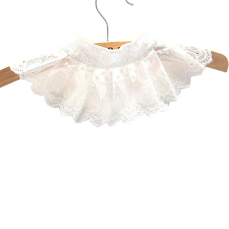 1 шт., Женская декоративная кружевная плиссированная блузка с цветочной вышивкой, ложный воротник, сплошной цвет, с вырезами, с зубчатой