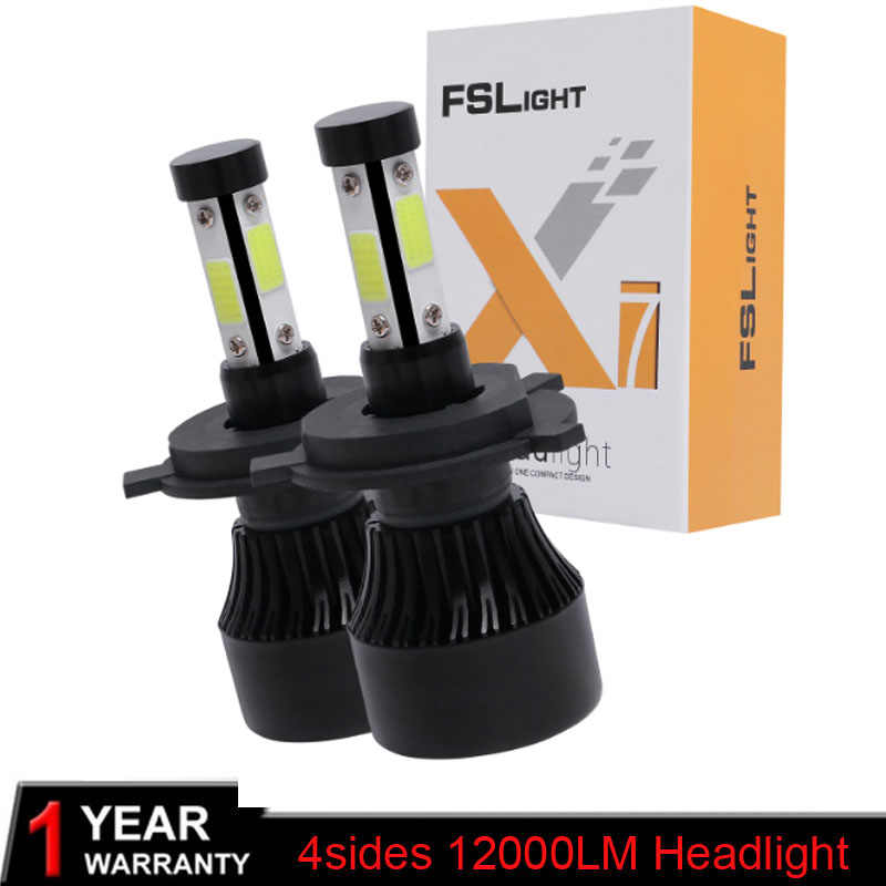 2PCs H7 H4 LED Bulb Car Headlight COB H11 H1 H13 H3 H27 9005/HB3 9006/HB4 9007 Hi-Lo Beam 80W 12000LM Auto Headlamp
