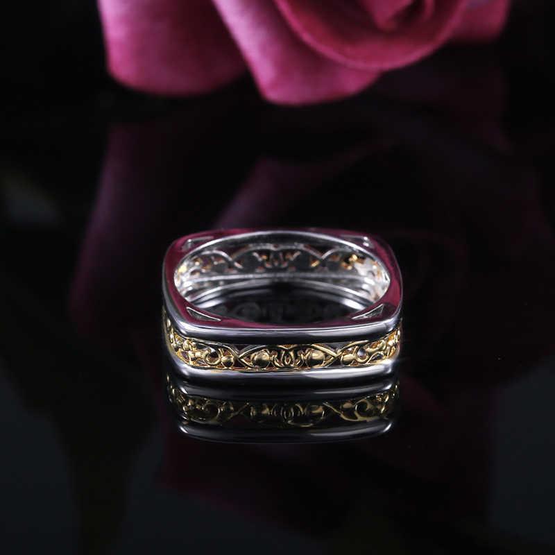 Huitan moda nova gótico feminino midi anel de luxo dois tons oco para fora padrão geométrico anéis de dedo personalidade legal gadget anel