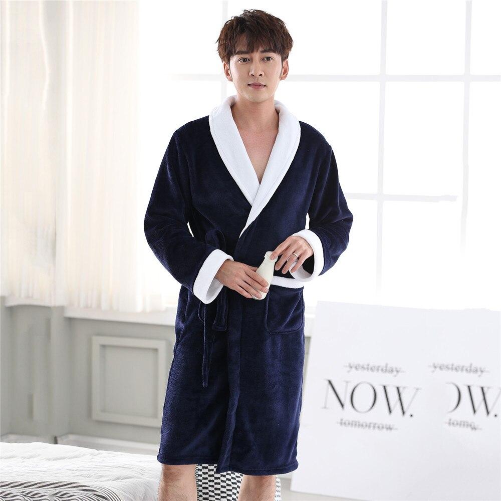 Thicken Padded Coral Fleece Bathrobe Men Fleece Robe Nightwear Large Size 3XL Negligee Softy Pajamas Warm Winter New Kimono Gown