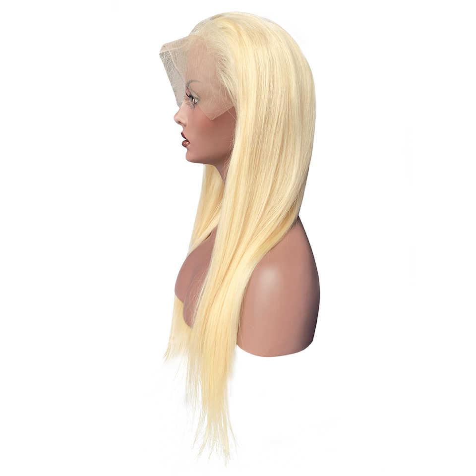 {Sunper Queen} recta 13x6 frente de encaje 8-26 M pelucas de cabello humano Remy Color rubio para mujeres negras Peluca de encaje brasileño Pre Plucke