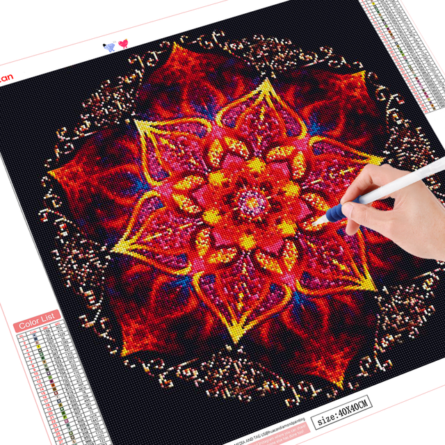 HUACAN 5D Diamond Painting Flowers Full Square Embroidery Mandala Mosaic Handmade Cross Stitch Home Decoration