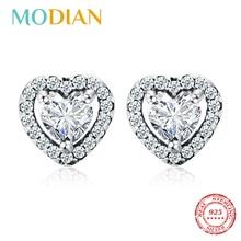 Pendientes de plata de ley 925 de Modian deslumbrantes con circonita cúbica transparente y corazón a la moda para mujer, joyería fina de plata para bodas