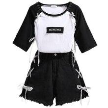 Verão meninas adolescentes roupas conjunto para preto algodão manga curta camiseta + shorts denim crianças roupas terno 13 14 15 16 17 anos