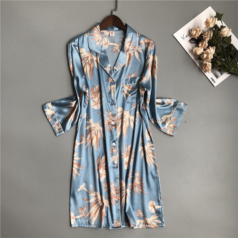 2020 Night Dress Women Luxurious Sleepshirt Korean Night Shirt For Women Sexy Sleepwear Silk Nightgown Satin Sleepwear Women