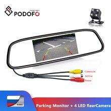 Podofo CCD HD водонепроницаемая система парковочных мониторов, 4 светодиодных камеры заднего вида с ночным видением+ 4,3 дюймовый монитор автомобильного зеркала заднего вида