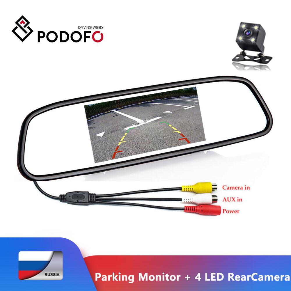 Podofo CCD HD Waterproof Parking Monitors System 4 LED Night Vision Car Rear View Camera   4 3 inch Car Rearview Mirror Monitor