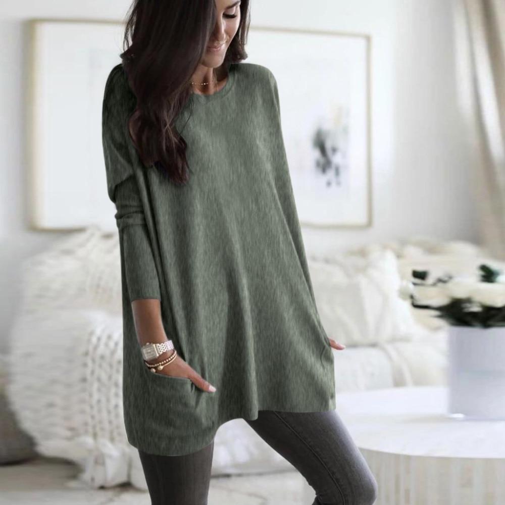 Womens Solid Warm Long Sleeve Sweatshirt Loose Pocket Daily Pullover Tops #4O08 (36)