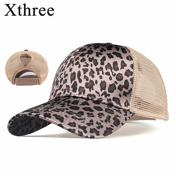 XTHREE Ponytail Baseball Cap Leopard Cap  Wome  Trucker Caps Casual Summer Snapback Hat For Girl Dad hat цена 2017