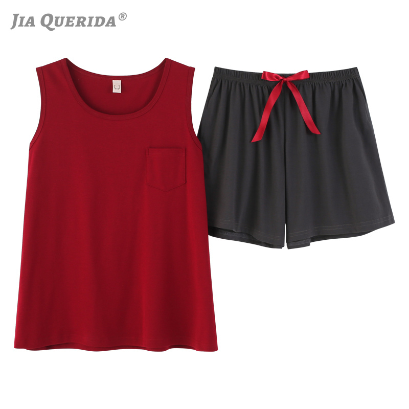 Women Pijama Cotton Summer Short Sleeves Red Sexy Home Wear Lingerie Pjs Cotton Sleeveless Loungewear Pyjama Women Set Plus Size